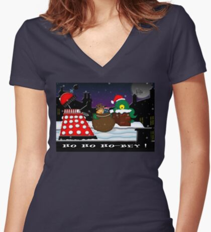 Ho ho ho-bey! Women's Fitted V-Neck T-Shirt