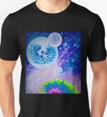 Spacescape with abstract rainbow Unisex T-Shirt