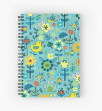 Ducks and Frogs in the Garden - Aqua and Lemon Spiral Notebook