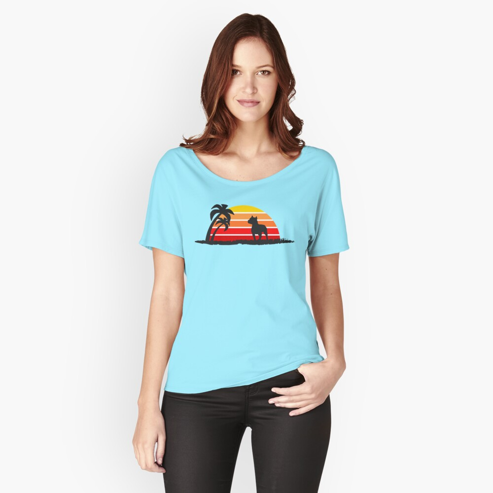 Pitbull on Sunset Beach Women's Relaxed Fit T-Shirt Front