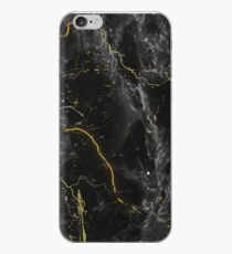 Vinilo o funda para iPhone Dark Marble Abstract Black y Gold