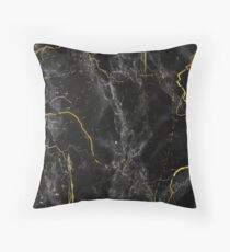 Dark Marble Abstract Black and Gold Throw Pillow