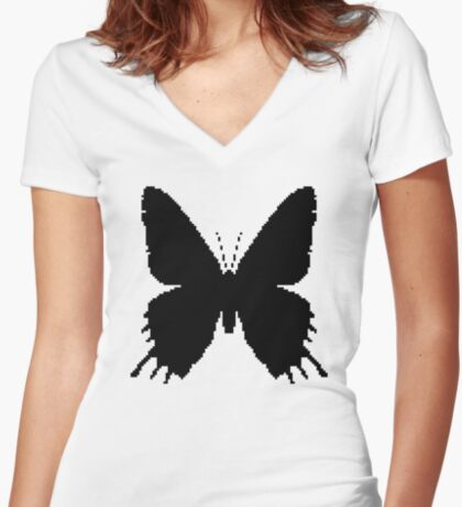 8-bit Simplex pixel Black butterfly Fitted V-Neck T-Shirt