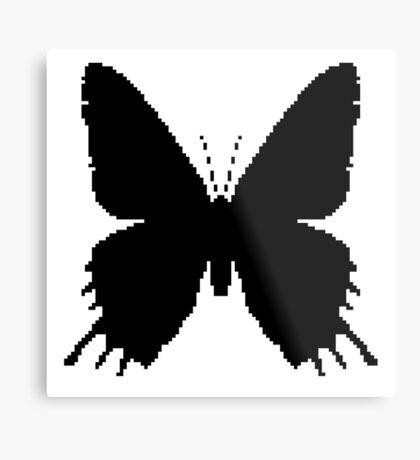 8-bit Simplex pixel Black butterfly Metal Print