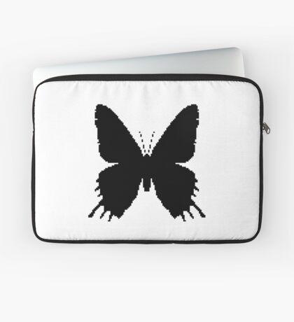 8-bit Simplex pixel Black butterfly Laptop Sleeve