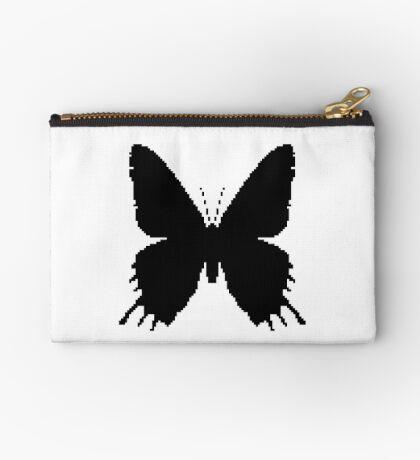 8-bit Simplex pixel Black butterfly Zipper Pouch