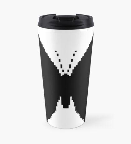 8-bit Simplex pixel Black butterfly Travel Mug