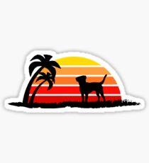Labrador Retriever on Sunset Beach Sticker