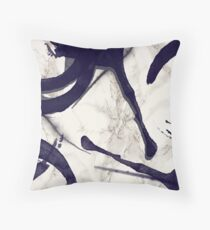 Marble and Watercolor Stains dark Blue Grey Throw Pillow