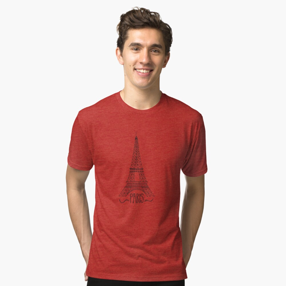 eiffel tower on pink Tri-blend T-Shirt Front