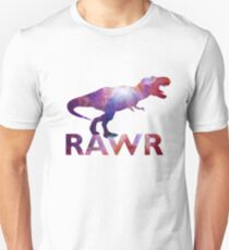 Space T-Rex Dinosaur, Blue and Red Unisex T-Shirt