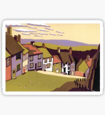 Gold Hill - Original linocut by Francesca Whetnall Sticker