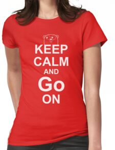 KEEP CALM AND Go ON - White on Red Design for Go Programmers Womens Fitted T-Shirt