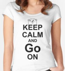 KEEP CALM AND Go ON - Black on White Design for Go Programmers Women's Fitted Scoop T-Shirt