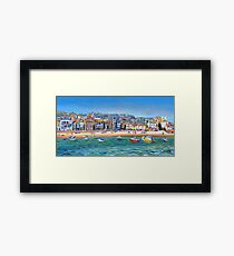 Acrylic painting, St Ives Harbour, Cornwall art Framed Print