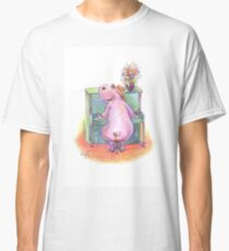 Hippo playing the Piano Pencil Drawing of Music Animal Classic T-Shirt