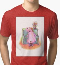 Hippo playing the Piano Pencil Drawing of Music Animal Tri-blend T-Shirt