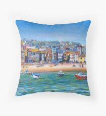 Acrylic painting, St Ives Harbour, Cornwall art Throw Pillow