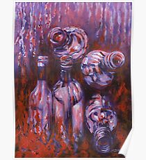 Acrylic painting, bottles contemporary art Poster