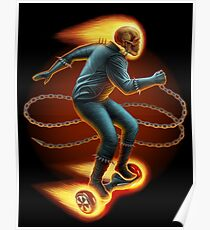 Ghost Rider On a Hoverboard Poster