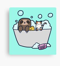 Sloth Kitty Bath Canvas Print