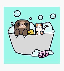Sloth Kitty Bath Photographic Print