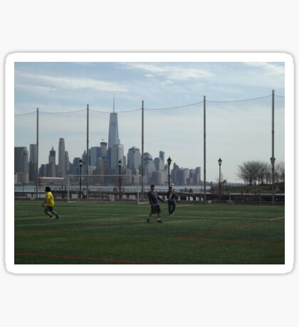 Playing Football (Soccer) Along Side the Hudson River, Hoboken, New Jersey  Sticker