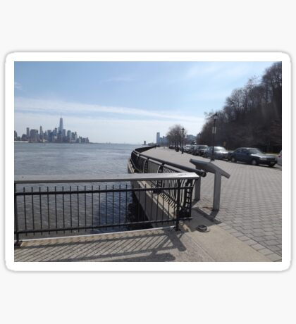 Bicycle Path, Jogging Path Along The Hudson River, Hoboken, New Jersey Sticker