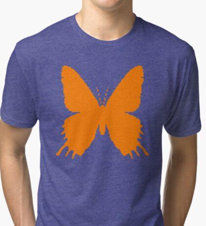 8-bit Simplex pixel Orange butterfly Tri-blend T-Shirt