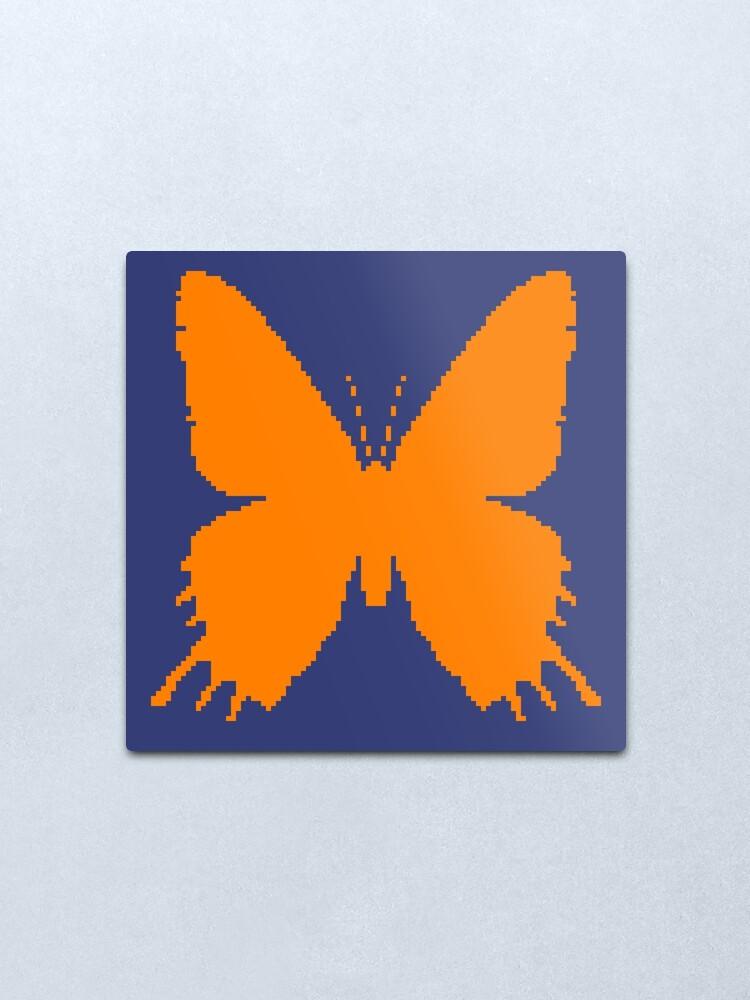 Alternate view of 8-bit Simplex pixel Orange butterfly Metal Print
