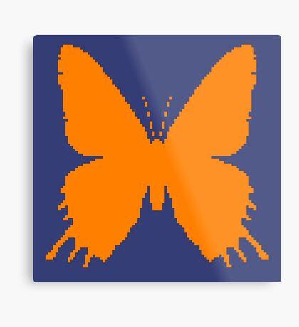 8-bit Simplex pixel Orange butterfly Metal Print