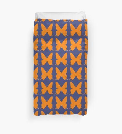 8-bit Simplex pixel Orange butterfly Duvet Cover