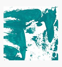 Artistic brush paint smears in sea green Photographic Print