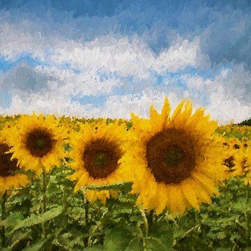 Sunflower field - Oil Impasto Impressionism by quokkacreative