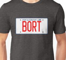 Bort License Plate – Itchy & Scratchy Land, Simpsons Unisex T-Shirt