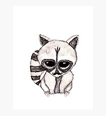 Adorable Watercolor Raccoon with Painted Mustache Photographic Print