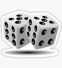 LUCKY, DOUBLE FIVE, DICE, RED DICE, Throw the Dice, Casino, Game, Gamble, CRAPS, BLACK & WHITE Sticker