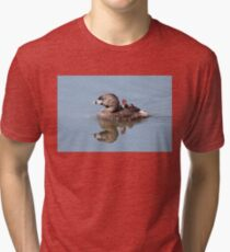 """Mom!...Timmy won't move over!"" Pied-billed grebes Tri-blend T-Shirt"