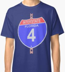 Interstate highway 4 road sign in Florida Classic T-Shirt