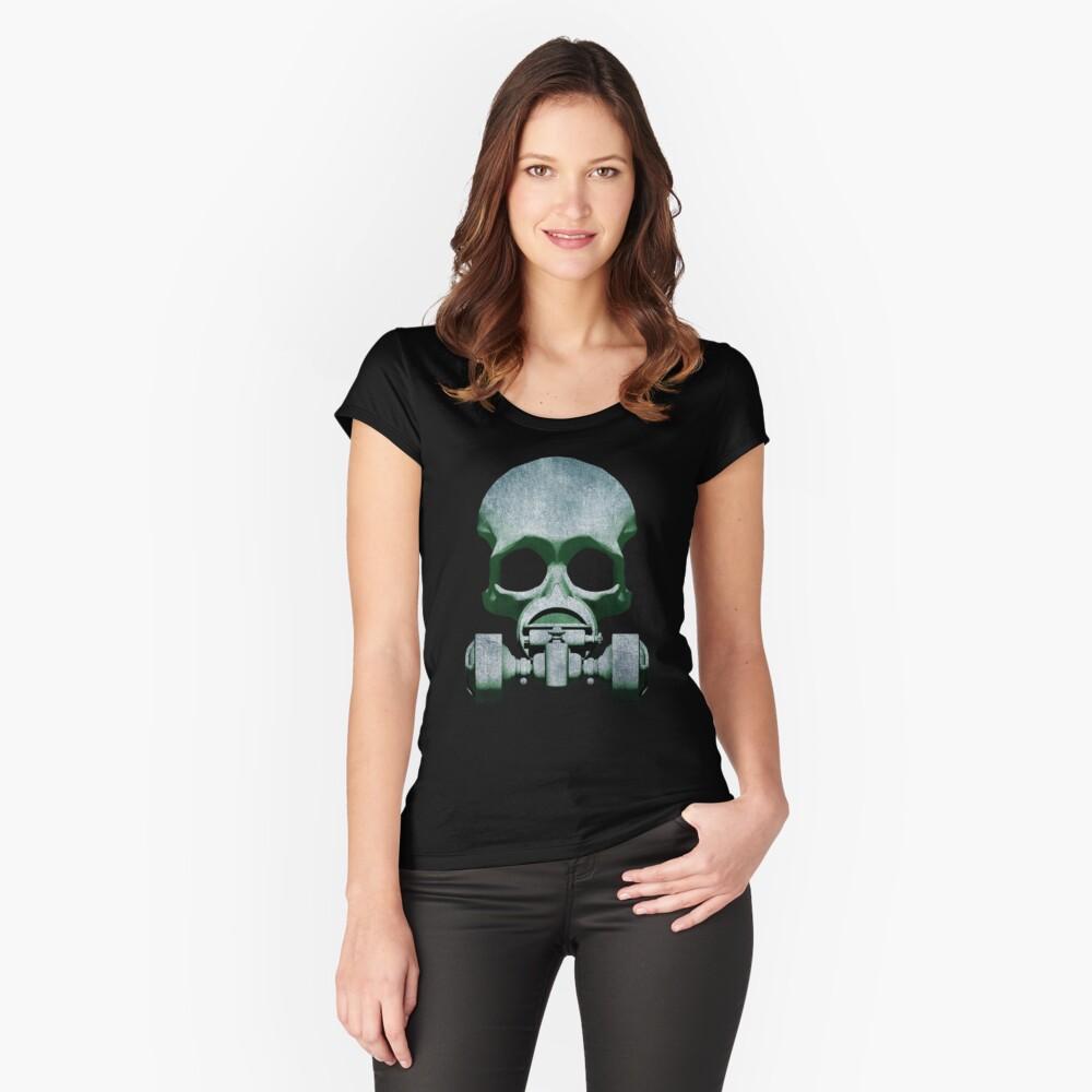 Steampunk / Cyberpunk Skull Gas Mask Fitted Scoop T-Shirt