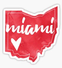 Miami - Miami University, Ohio Watercolor Heart Sticker