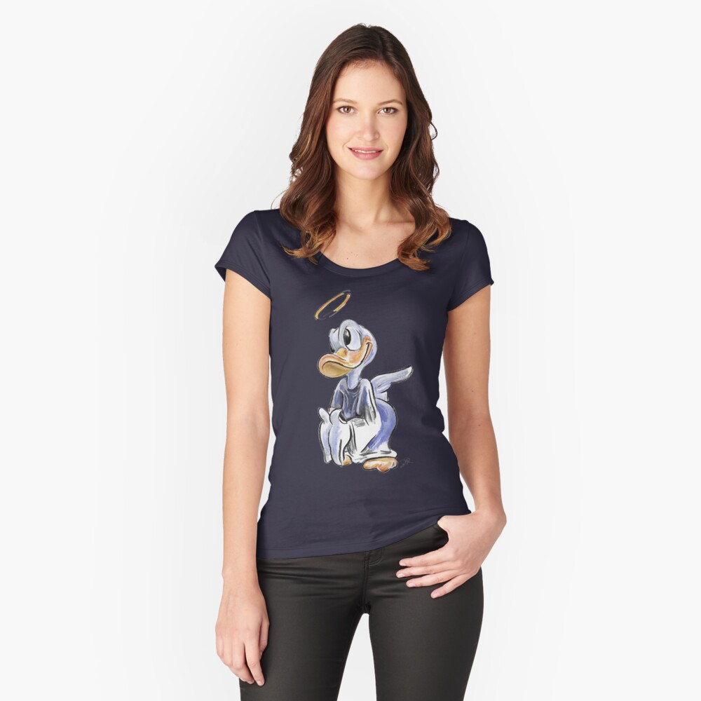 Charcoal and Oil - Angel Donald Duck Women's Fitted Scoop T-Shirt Front