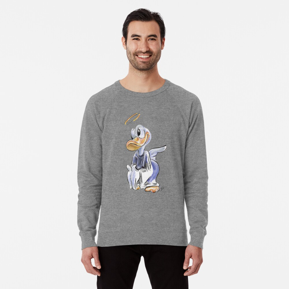 Charcoal and Oil - Angel Donald Duck Lightweight Sweatshirt Front