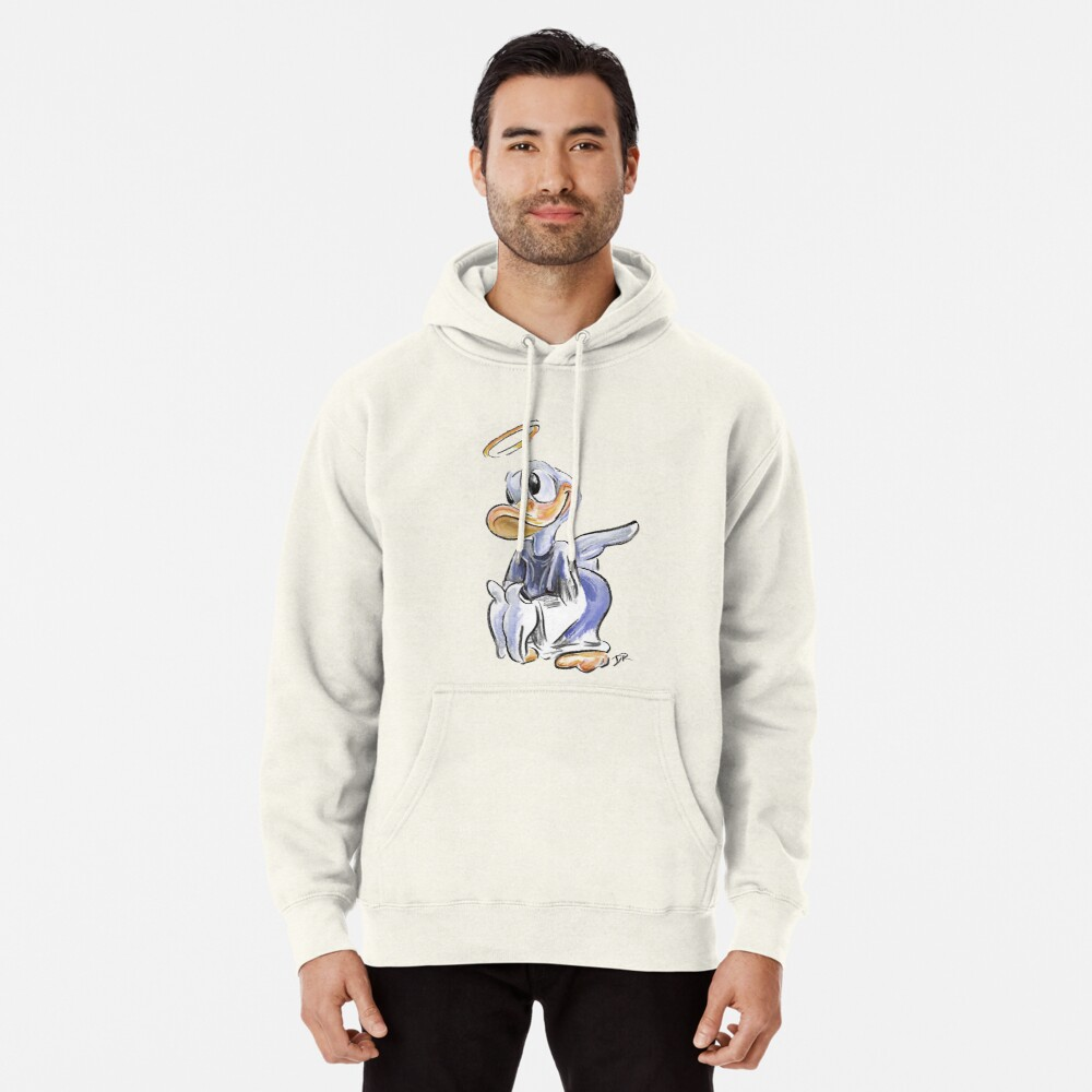 Charcoal and Oil - Angel Donald Duck Pullover Hoodie Front