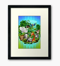 Wild Animals Cartoon on Jungle Framed Print
