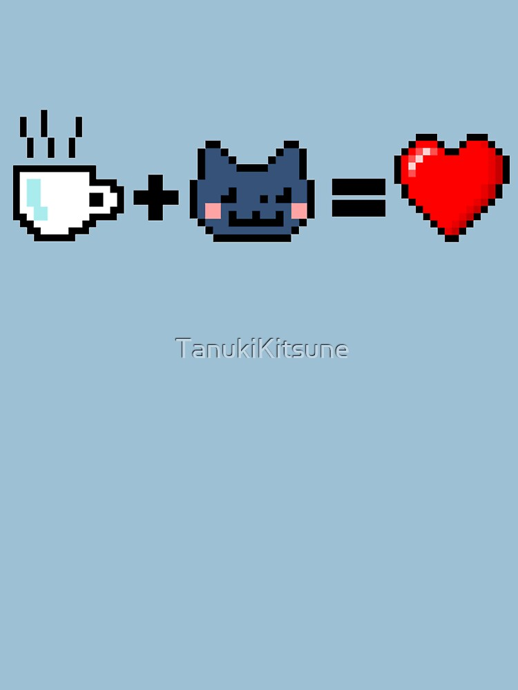 """Tee + Katze = Liebe"" 8-Bit: 3 von TanukiKitsune"