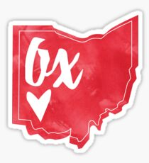 Ox - Miami, Ohio - Watercolor heart Ohio  Sticker