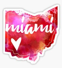 Miami University - Miami, Ohio - Watercolor Heart Ohio Sticker