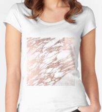Chic Elegant White and Rose Gold Marble Pattern Women's Fitted Scoop T-Shirt