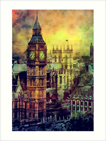 London BigBen Watercolor by JBJart